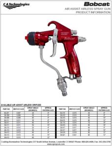 ca technologies bobcat air assisted airless handheld spray gun product manual