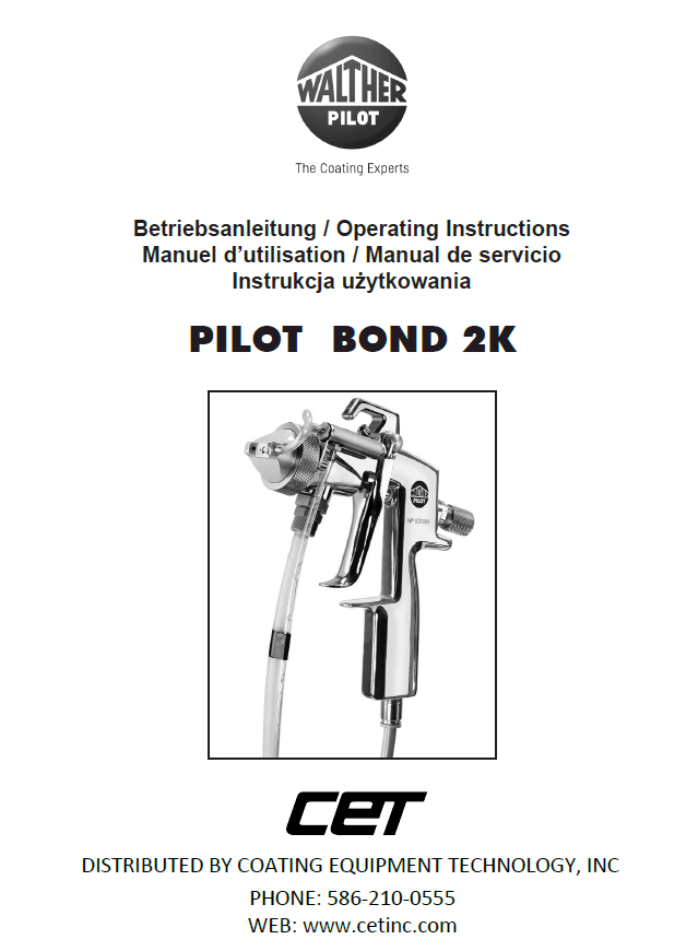 pilot bond 2k handheld dual component spray gun