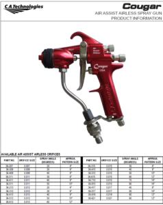 ca technologies cougar air assisted airless handheld spray gun product manual