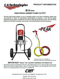 ca technologies peak air assisted airless pump setup cougar spray gun product manual c14