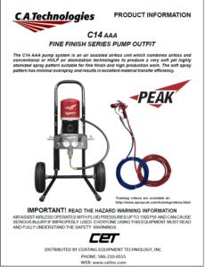 ca technologies peak air assisted airless pump setup bobcat spray gun ob14 product manual