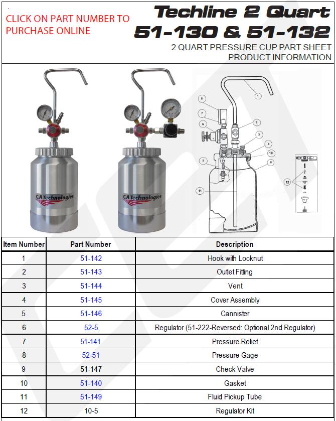 ca technologies techline 2 quart pressure cup