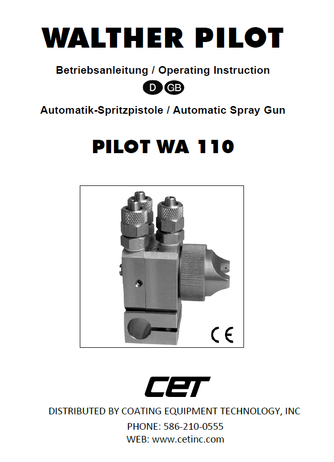 walther pilot wa 110 compact automatic spray gun for mold release product manual