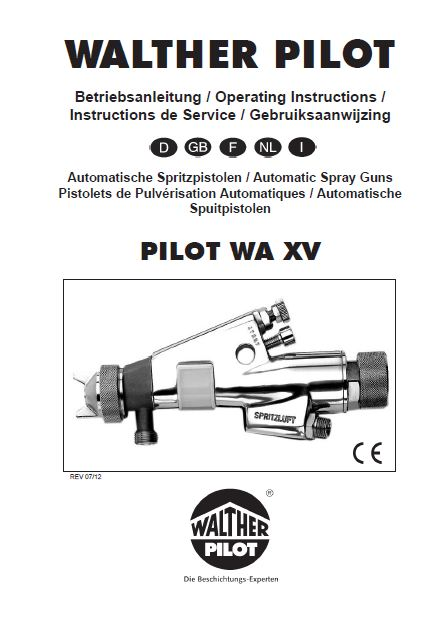 walther pilot wa xv heavy duty industrial automatic spray gun product manual